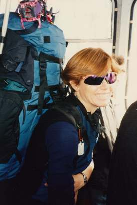 Peggy McKay in a Mt Elbrus aerial cable car