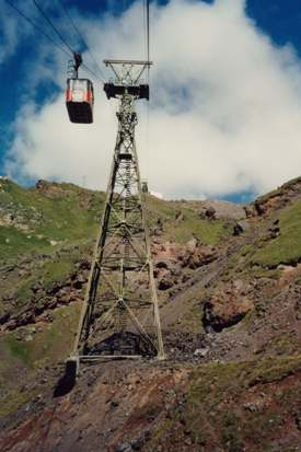 Aerial cable cars on Mt Elbruss