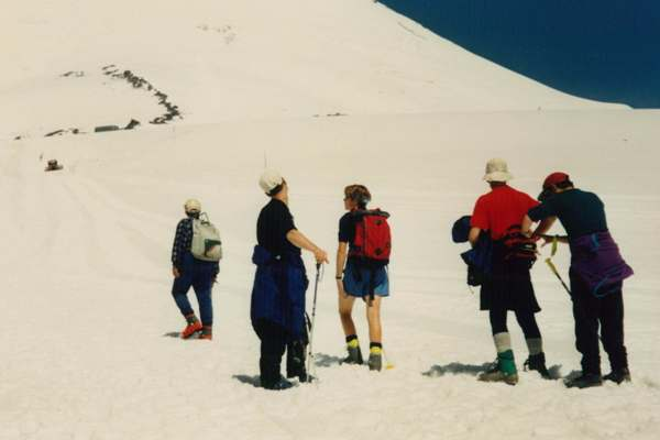 Walking above the snowline on Mt Elbrus-line