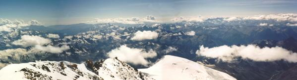 Panoramic view from the summit of Mt Elbrus